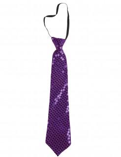 Pailletten-Krawatte Kostümzubehör lila ca. 38cm lang