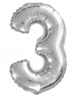 Aluminium Ballon Ziffer 3 Partydekoration silber 35 cm