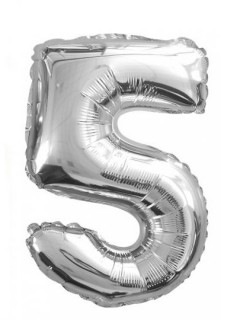 Aluminium Ballon Ziffer 5 Partydekoration silber 35 cm