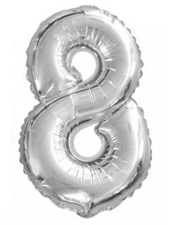 Aluminium Ballon Ziffer 8 Partydekoration silber 35 cm