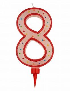 Riesen Kerze - Zahl 8 Tortendekoration Partydekoration rot-weiß-bunt 15 x 7 cm
