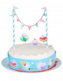 Kuchen-Dekoration Geburtstage 5-teilig rosa-blau-bunt