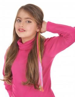 Regenbogen-Haarsträhne Kostümaccessoire bunt 38 cm