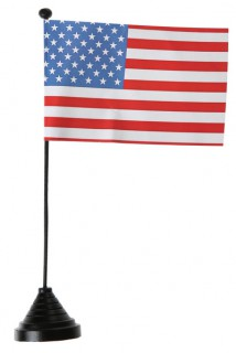 USA Fahne mit Sockel Tischdekoration Länderfanartikel weiß-blau-rot 25 cm hoch