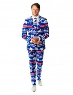 Opposuits Herrenanzug Mr. Christmas Herrenkostüm blau-weiß-rot 3-teilig