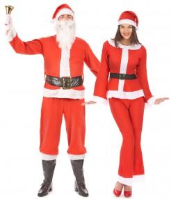 Weihnachtsfrau und Weihnachtsmann-Paarkostüm Weihnachten rot-weiss