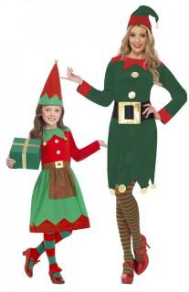 Weihnachtswichtel Kostüm-Set für Mutter und Tochter grün-rot-gold