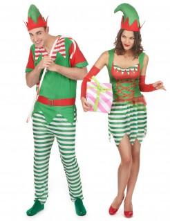 Weihnachtselfen Kostüm-Set für Paare grüm-rot-weiss