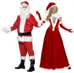 Weihnachtskostüm-Set für Mann und Frau rot-weiss