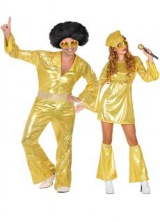 Funky Disco Paarkostüm-Set für Mann und Frau gold