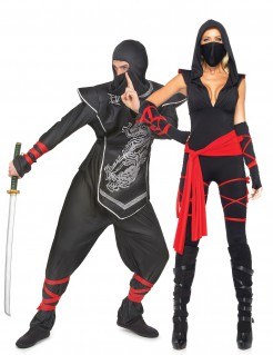 Ninja Kostüm-Set für Paare schwarz-rot-silber