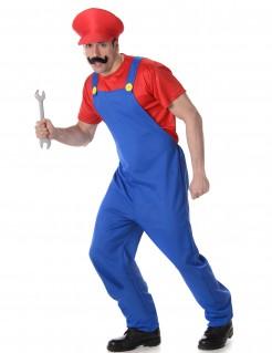 Klempner-Erwachsenenkostüm Videospiel-Verkleidung rot-blau
