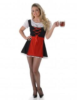 Sexy Damenkostüm Bayerisches Dirndl schwarz-rot-weiß