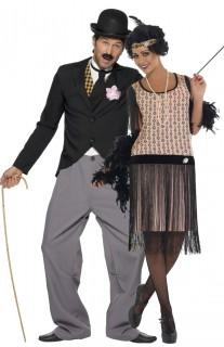 20er Jahre Paarkostüm für Mann und Frau schwarz-beige-grau
