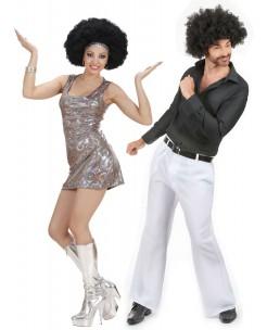 70er Jahre Disco Paarkostüm-Set silber-weiss