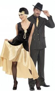 20er Jahre Gangster Gruppenkostüm-Set für Paare schwarz-gold