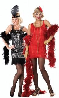 20er Jahre Charleston Paarkostüm für Damen rot-schwarz-silber