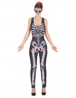 Tag der Toten Skelett Damenkostüm Jumpsuit schwarz-bunt