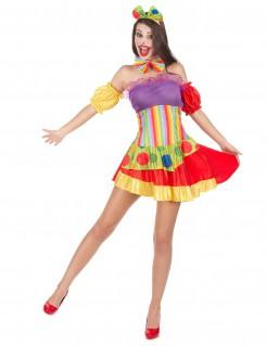 Clownfrau Damen-Kostüm bunt