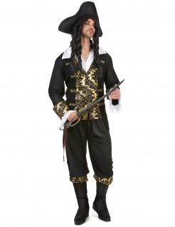 Edler Piraten-Kapitän Kostüm Freibeuter Plus Size schwarz-gold