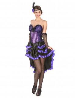 Heisse Saloon-Lady Damenkostüm Showgirl lila-schwarz