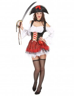 Sexy Piratinnen Kostüm Tochter der Meere weiss-rot-schwarz