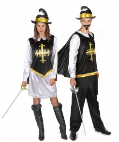 Musketier Gruppenkostüm-Set für Paare schwarz-weiss-gold