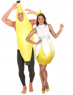 Witziges Bananen Paarkostüm-Set gelb-weiss