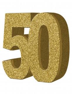 Geburtstags-Tischdeko Zahl 50 gold 20x20cm