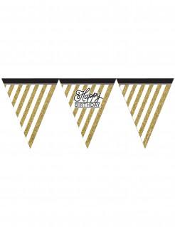 Wimpelgirlande Happy Birthday Partydeko schwarz-gold-weiss 370cm