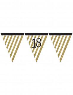 Geburtstags-Wimpelgirlande Zahl 18 schwarz-gold 3,7m