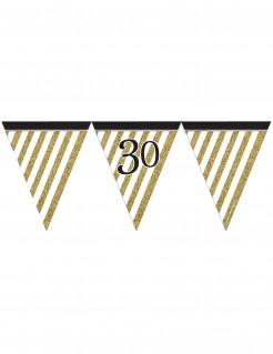 Geburtstagsparty Wimpelgirlande Zahl 30 gold-schwarz 370cm