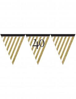 Geburtstagsgirlande mit Wimpeln 40 Jahre Jubiläumsdeko gold-weiss-schwarz 3,7m