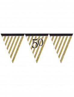 Geburtstags-Wimpelgirlande Zahl 50 schwarz-gold 3,7m