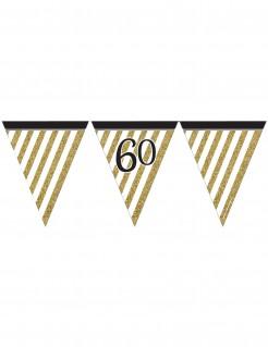 Geburtstagsgirlande mit Wimpeln 60 Jahre Jubiläumsdeko gold-weiss-schwarz 3,7m