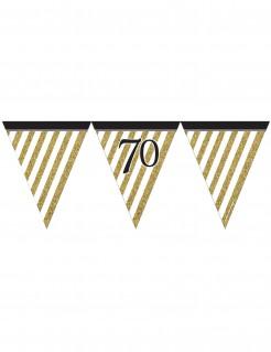 Geburtstagsgirlande mit Wimpeln 70 Jahre Jubiläumsdeko gold-weiss-schwarz 3,7m