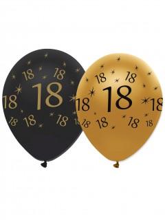 Geburtstagsballons 18 Jahre Jubiläums-Luftballons 6 Stück gold-schwarz 30cm