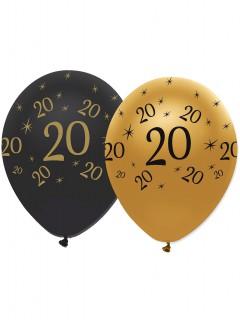 Geburtstagsballons 20 Jahre 6 Stück schwarz-gold