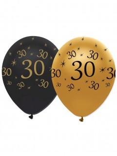 Geburtstagsballons 30 Jahre Jubiläums-Luftballons 6 Stück gold-schwarz 30cm