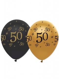 Luftballons 50. Geburtstag 6 Stück schwarz-gold 30cm