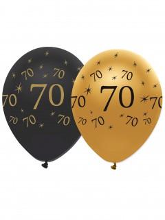 Geburtstagsballons 70 Jahre Jubiläums-Luftballons 6 Stück gold-schwarz 30cm