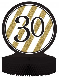 Tischaufsteller Zahl 30 Partydeko gold-schwarz 23cm