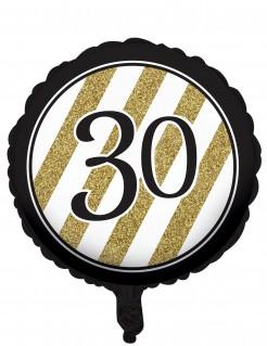 Geburtstagsluftballon 30 Jahre schwarz-gold 46cm