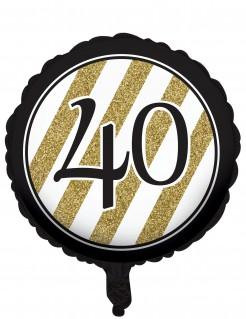 Geburtstagsluftballon 40 Jahre schwarz-gold 46cm