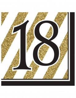 Geburtstagsservietten 18 Jahre Jubiläumsservietten 16 Stück gold-schwarz-weiss 33x33cm