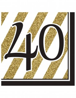 Geburtstagsservietten 40 Jahre Jubiläumsservietten 16 Stück gold-schwarz-weiss 33x33cm