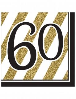 Geburtstagsservietten 60 Jahre Jubiläumsservietten 16 Stück gold-schwarz-weiss 33x33cm