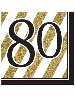 80. Geburtstag Party-Servietten Tischdeko 16 Stück gold-schwarz-weiss 33 x 33cm