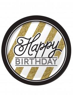 Geburtstagsteller Partyteller Happy Birthday 8 Stück schwarz-gold-weiss 23cm