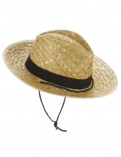 Cowboy Strohhut Kostüm-Zubehör beige-schwarz